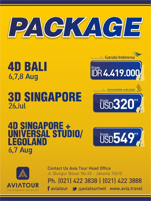 Get our Special Deal Package !! #AviaPromo #Ticket #Bali #Singapore #UniversalStudio #Promotion