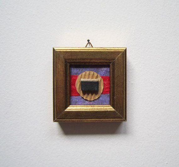 Mini piccola arte astratta mix media spilla regalo collana regalo Natale decorazione casa moda regalo compleanno regalo donna uomo laurea