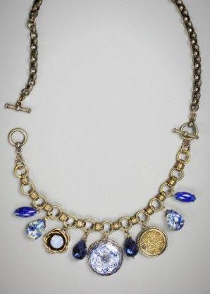 Marais necklace/bracelet: vintage Czech, Japanese and German glass drops; one antique brass button circa 1890; new Czech glass button; Swarovski crystal in air blue opal.