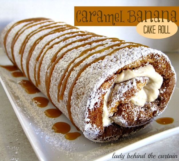 Caramel Banana Cake Roll-filled with a light banana cream-from Lady Behind The Curtain