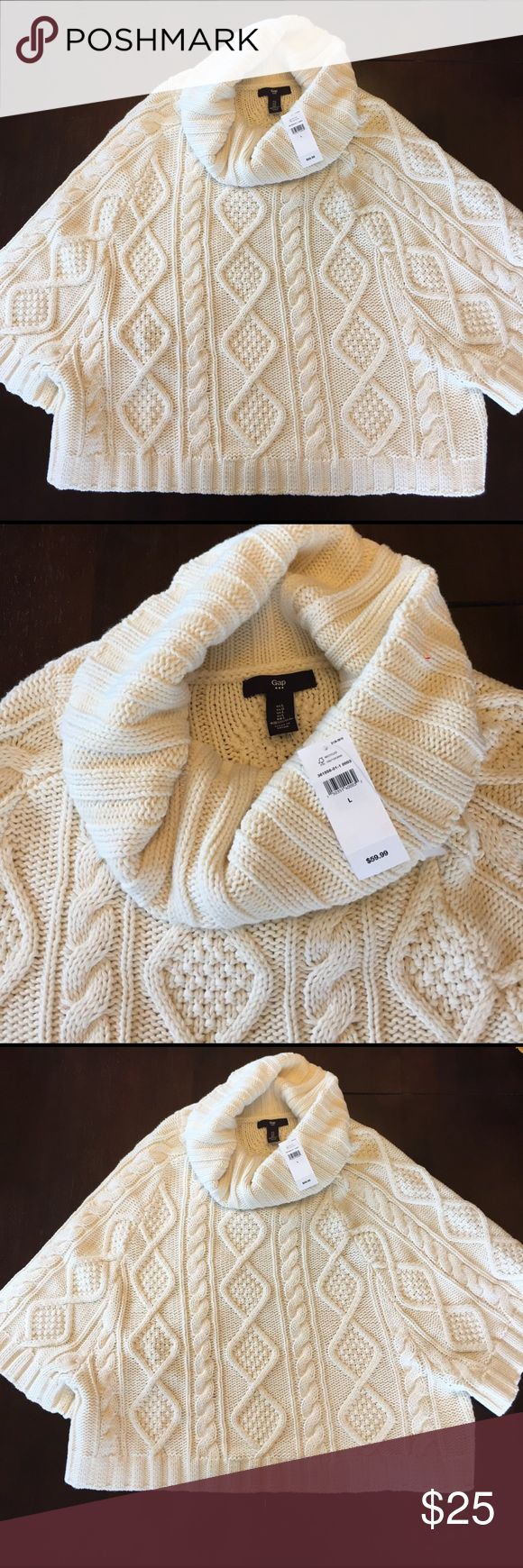 New with tags GAP beautiful cable knit girl poncho New with tags GAP beautiful cable knit girls poncho! Great for chilly spring nights or eating in air conditioning( restaurants and movies) PRICE IS GREAT AND FIRM!! GAP Shirts & Tops Sweaters