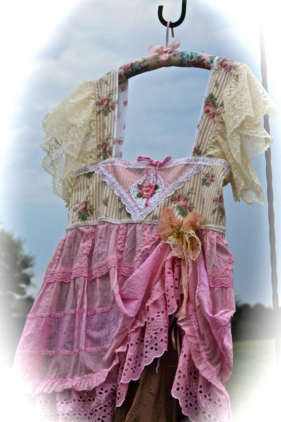 Sweet Neapolitan Boho Dress Rustic Shabby Chic Gypsy by IzzyRoo, $88.72