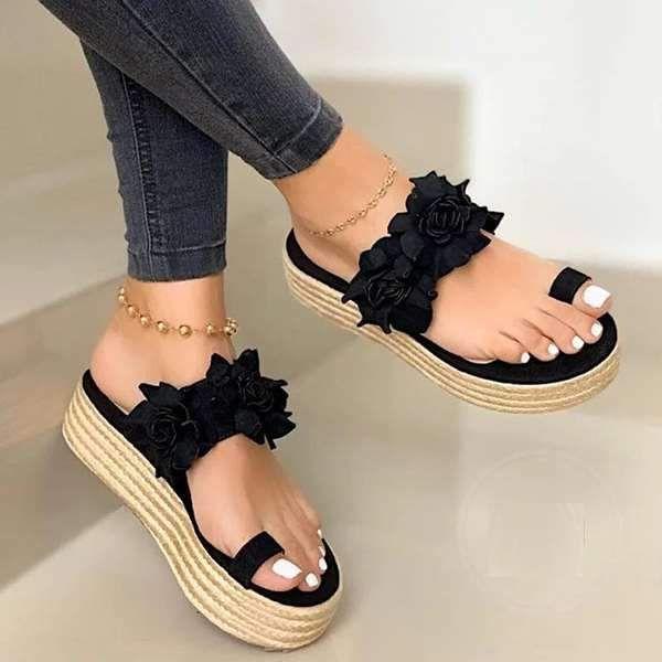 Ladies Women Summer  Slippers Wedge Heels Shoes Sandals Platform Flowers Fashion