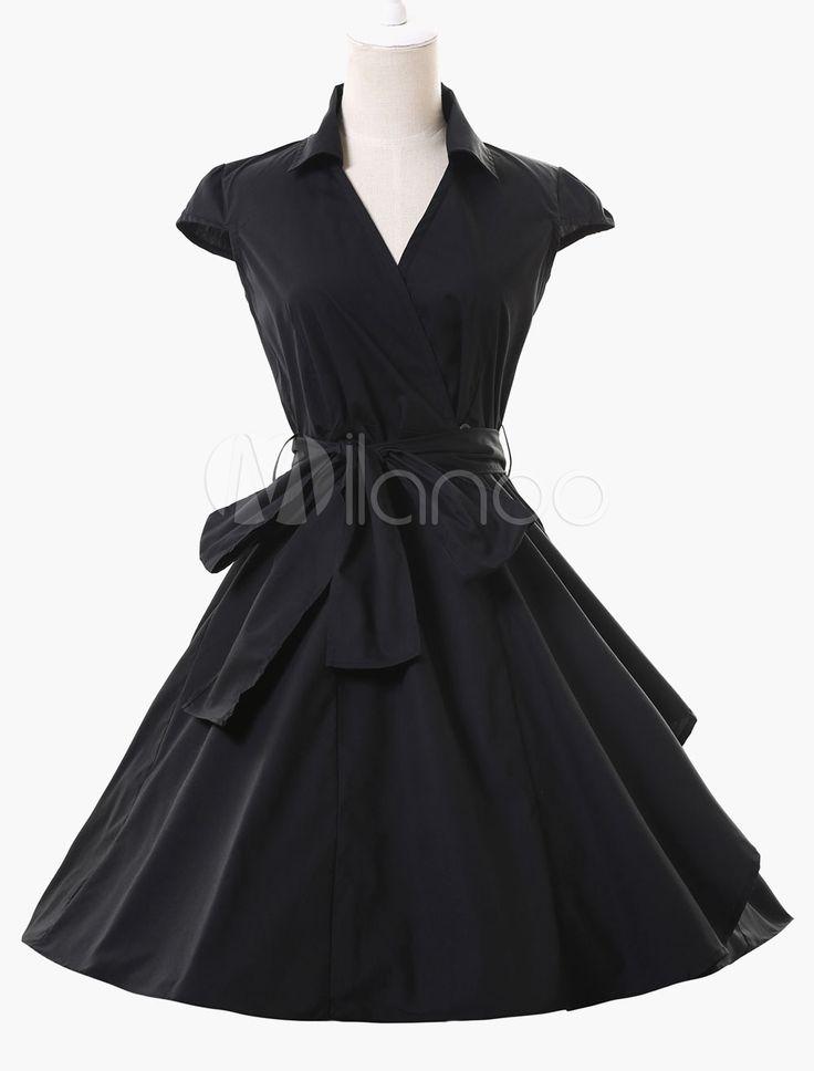 Deep V-Neck Sleeveless Wrap Vintage Dress - Milanoo.com