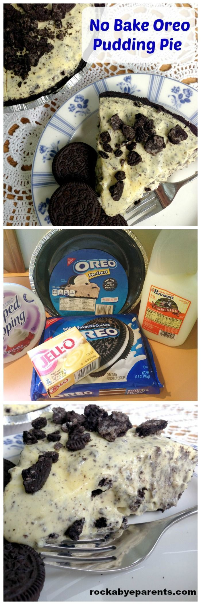No Bake Oreo Pudding Pie: This dessert is so yummy, and even better it's quick and easy to make! - http://rockabyeparents.com