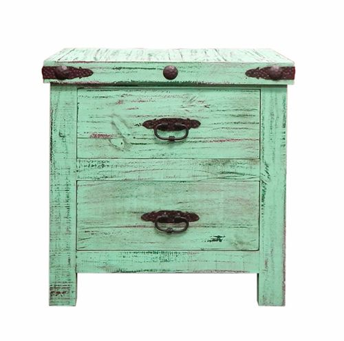 Rustic Rough Cut Distressed Green Nightstand