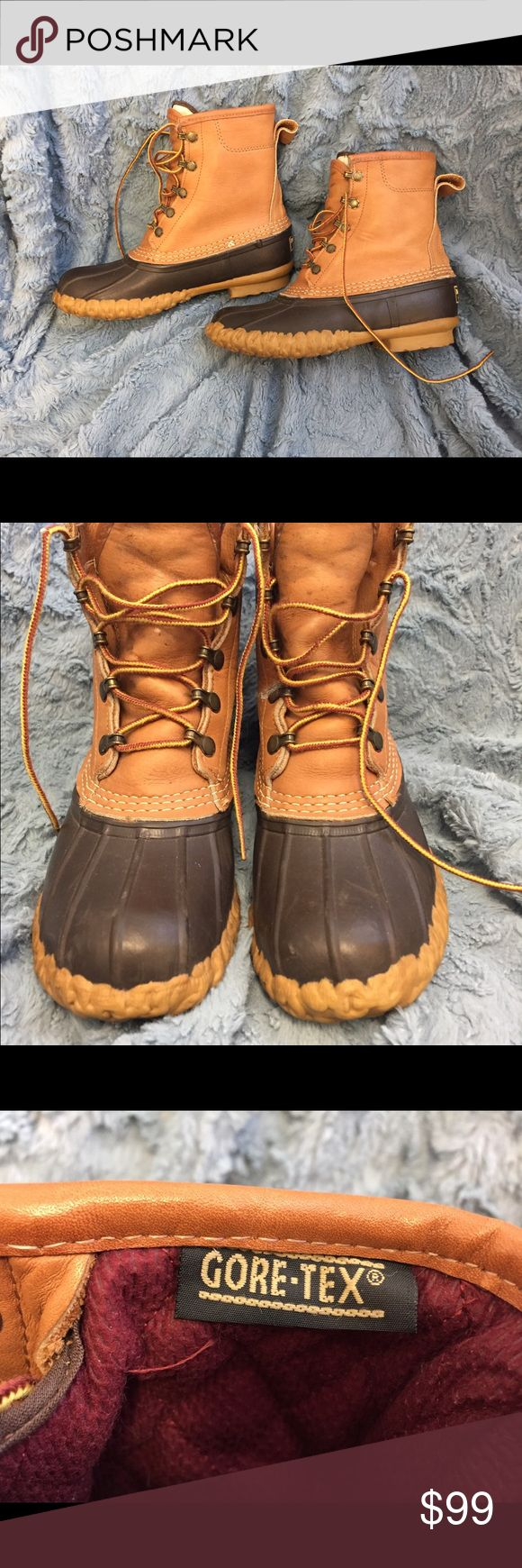 L L Bean Women's Duck Boots - Gore Tex Lined Classic LL Bean Lace-up Duck Boots with Gore Tex lining.  Stay warm and dry this season.  Hard to find, backordered at Bean's! LL Bean Shoes Winter & Rain Boots