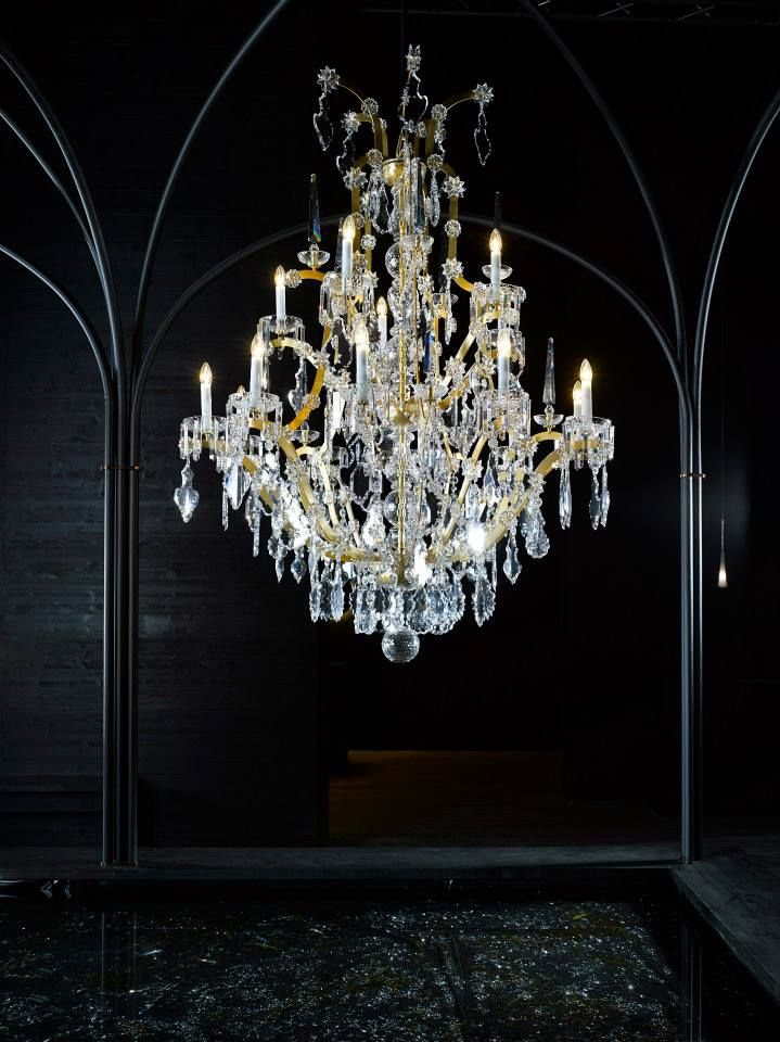 Crystal beauty at its best. #chandelier #crystal #glass #light #mariatheresa #design #interiordesign #euroluce2015 #salonedelmobile #milandesignweek #preciosalighting #craftsmanship