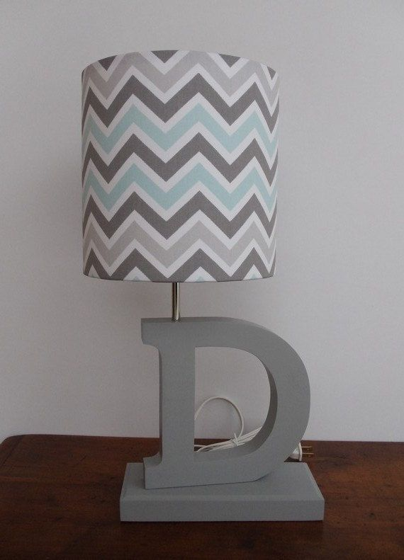 Small Blue/Grey/White Chevron Drum Lamp Shade  by PerrelleDesigns, $30.00