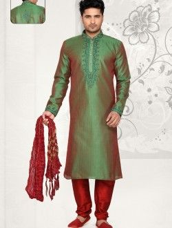 Majestic Sheded Green Art Silk Wedding Wear Kurta Pajama