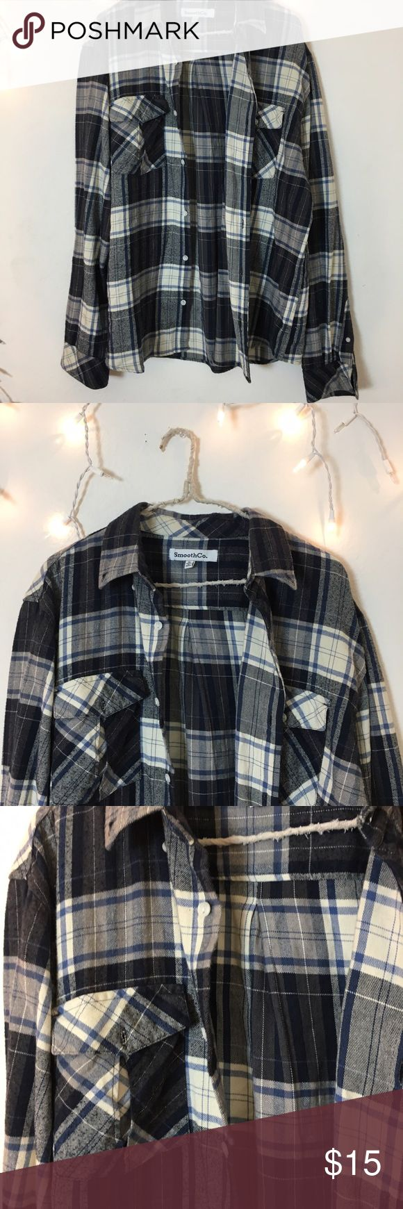 Vintage Black White and Blue Flannel Perfect condition multi color Flannel. Long oversized fit and ultra comfy. Bought from Brandy Melville vintage section, tag brand is smooth co. Best for women's small or medium oversized fit. Brandy Melville Tops Tees - Long Sleeve