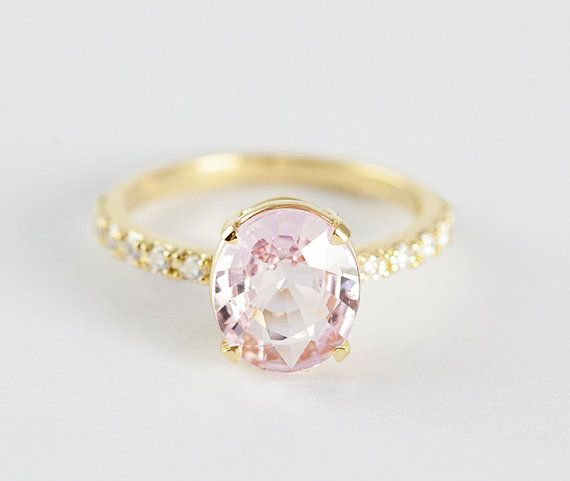 Peach Sapphire Ring Peach Sapphire Engagement Ring by MinimalVS