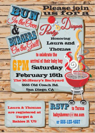 Diaper Party Custom Invitations. Woodgrain and barbeque. #dadchelor_party_invitations