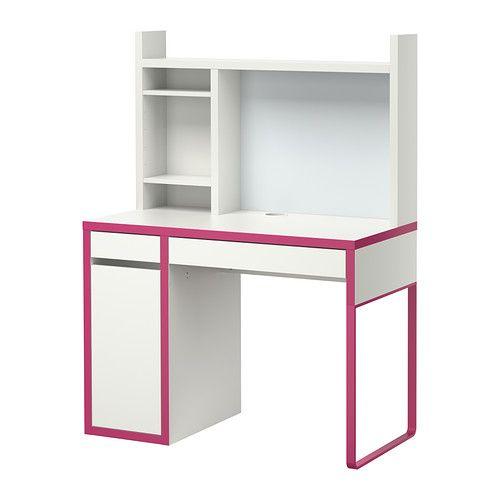 IKEA - MICKE, Arbeitsplatz, weiß/rosa,