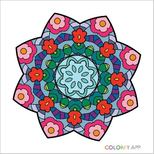 From Mandalas I  (For some unknown reason the colours remind me of my nanna).