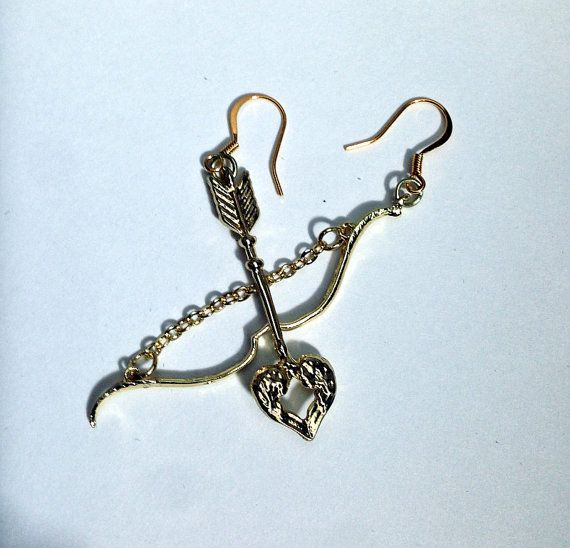 Gold Cupid Earrings Archery Jewelry Bow and Arrow by DustyRemnants, $15.00