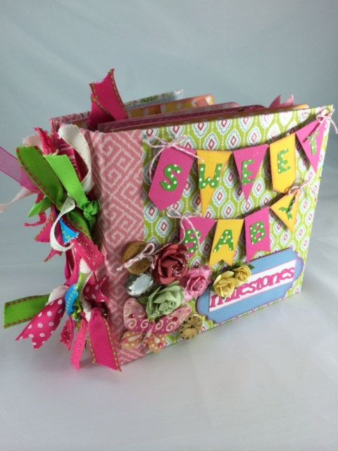 Mini Scrapbook Album for Baby Girl with Monthly Milestone Photo Props