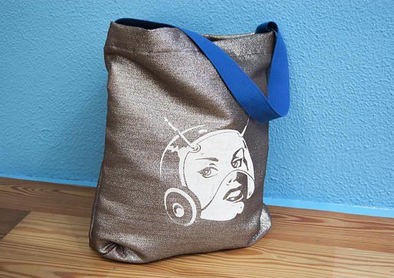 handgemaakte tas draagtas boodschappentas shopper zilveren