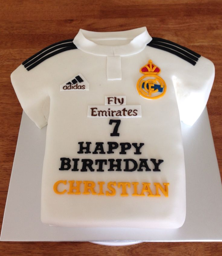Real Madrid jersey theme birthday cake                                                                                                                                                                                 More