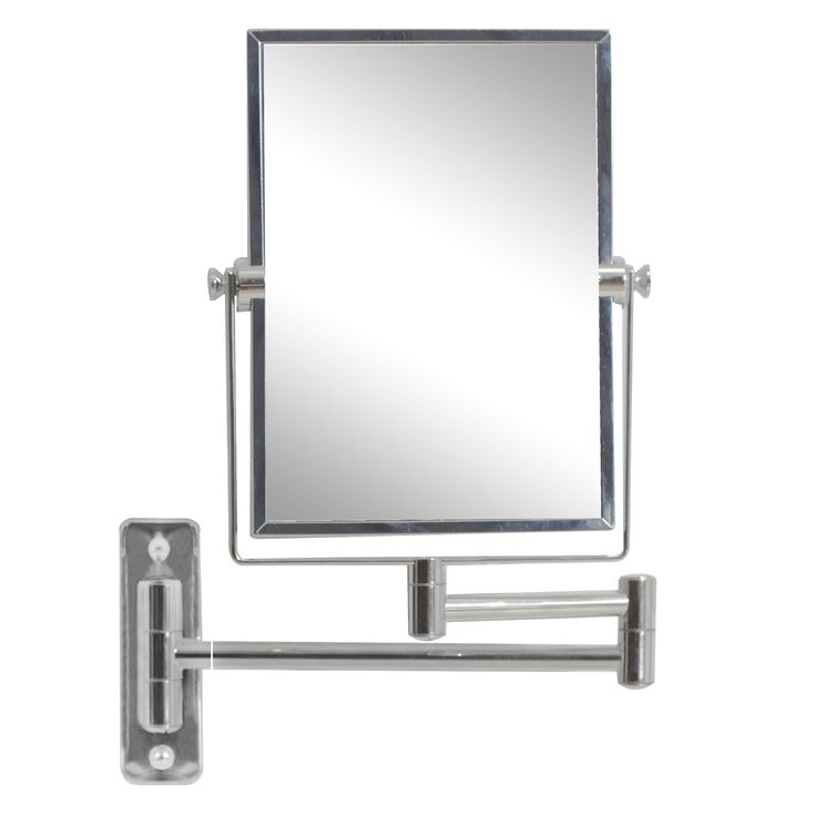 W Rectangle Mirror Wall Mount Magnifying In Chrome