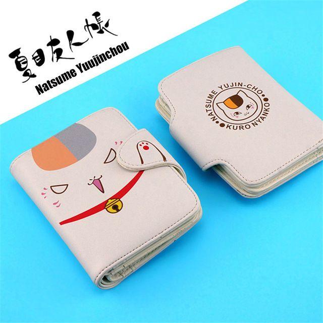 Natsume Yuujinchou Cat PU Magnetische Gesp Korte Portemonnee Natsume's Boek van Vrienden Anime Nyanko Sensei Purse met Kaarthouder