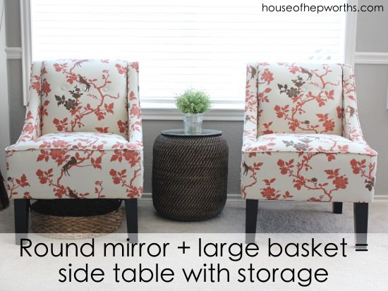 Turn a large plant basket into a chic side table complete with tons of storage inside. houseofhepworths.com