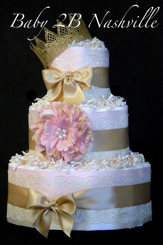 Diaper Cake for Girls Deluxe Pink and Gold Baby by Baby2BNashville