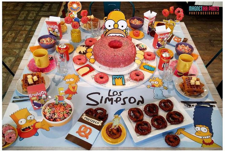 What a fun Simpsons breakfast party! See more party ideas at CatchMyParty.com!