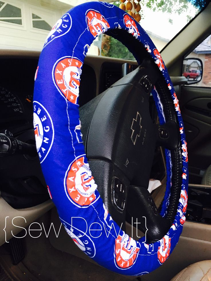 A personal favorite from my Etsy shop https://www.etsy.com/listing/573657131/steering-wheel-cover-texas-rangers