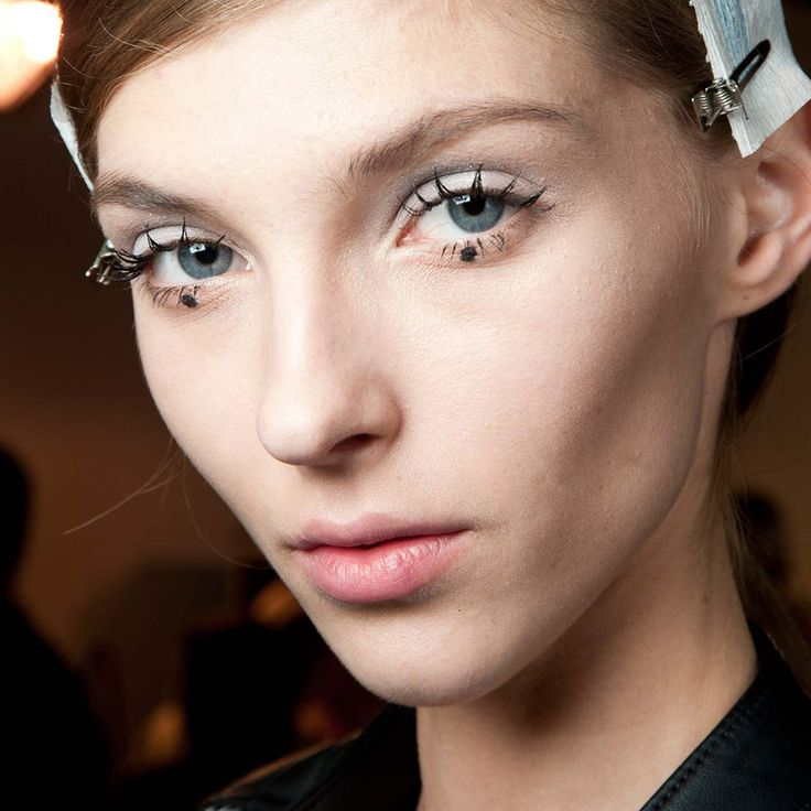 Makeup style for SS 2015: Statement eyes. Grayish baby-blue eye-shadow + spider black lashes + black dot on the lower eyelid at Rochas Spring Summer 2015.