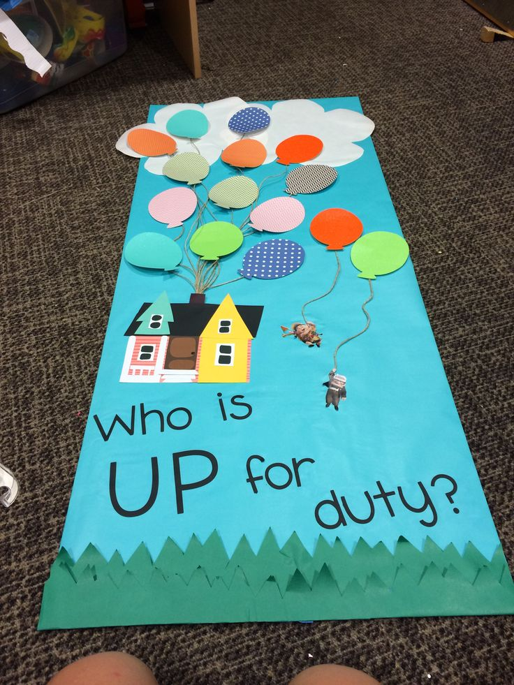 RA Duty bulletin board UP themed with movable balloons!