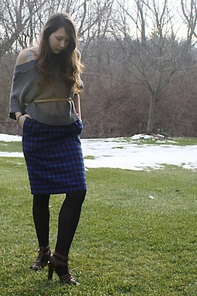 Slouchy-marshalls-sweater-opaque-hanes-tights-flannel-thrifted-skirt