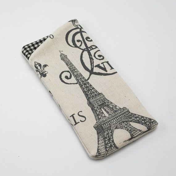 Sunglasses Case, Eyeglass Case, Glasses Case in Paris Eiffel Tower Fabric