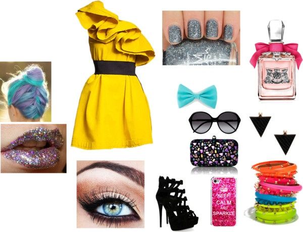 """Neon Party Outfit"" by maditeal on Polyvore"