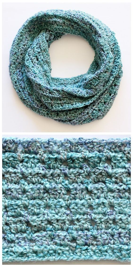 Love this interesting design... whip up this beautiful and easy to crochet infinity scarf in a day or two. Free pattern included - great for beginners too.