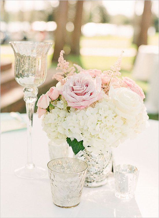 white pink and silver centerpieces @weddingchicks
