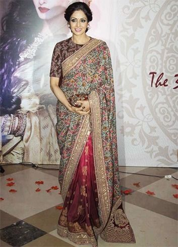 Sridevi defies age barrier in a lovely Sabyasachi saree.