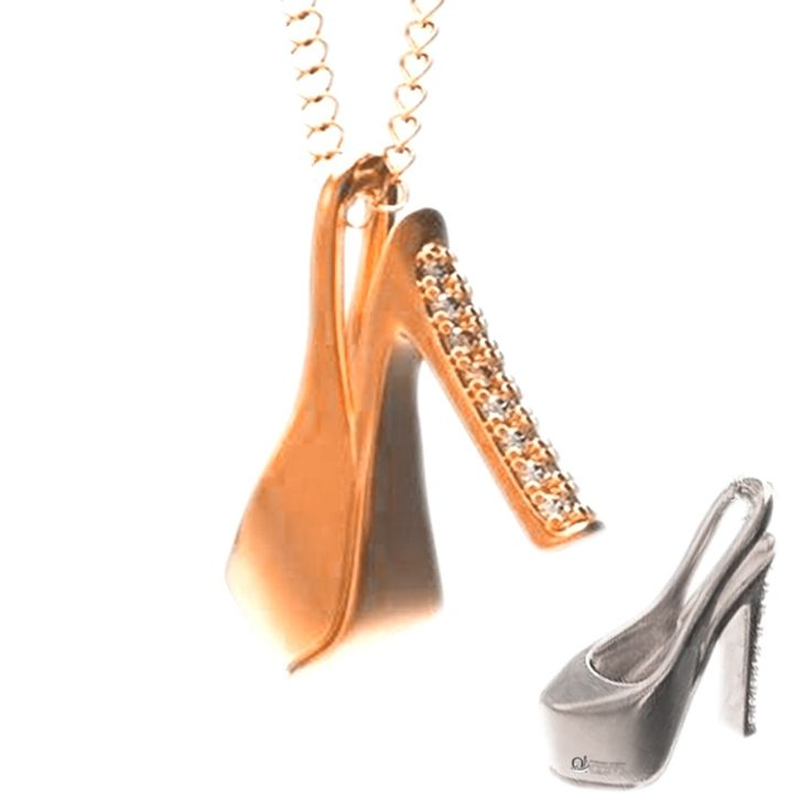 Pandantiv Cinderella aur roz. Contine cristale de zirconiu.