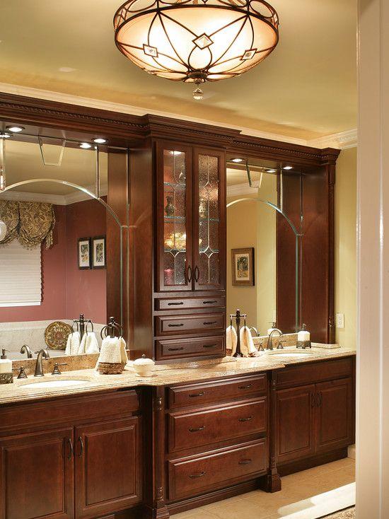 Bathroom Double Vanity Design Layered Mirror Detail