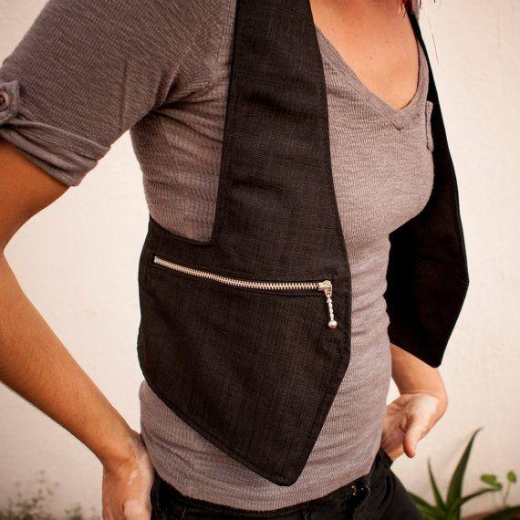 Schwarze Weste – Streetwear Weste / Schulterholster Tasche / Baumwolle täglichen Gebrauch Weste / Holster Tasche / Festival Weste – Lena Marvin