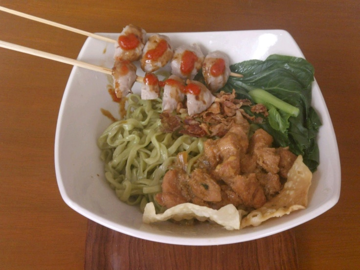 Meatball Grill with Dumpling Noodles - a famous traditional food from Malang, East Java.