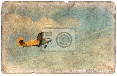 Vintage vojenské pohlednice izolované, létající dvouplošník na obrazech myloview. Nejlepší kvality fototapety, myloview sbírky, nálepky, obrazy, plakáty. Chcete si vyzdobit Váš domov? Pouze s myloview!