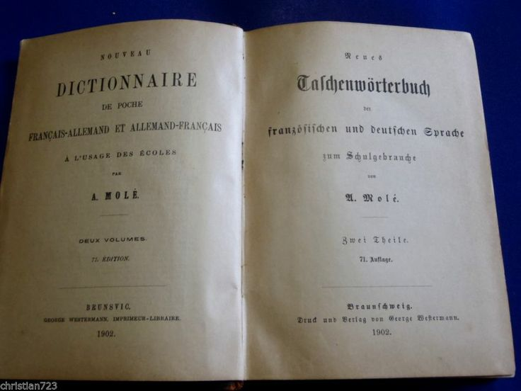 1902 DICTIONNAIRE FRANCAIS ALLEMAND FRENCH GERMAN DICTIONARY - A MOLE