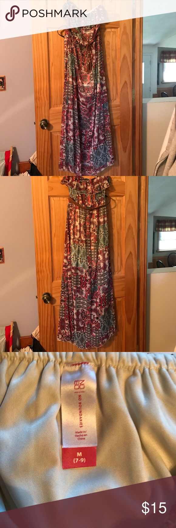 """No Boundaries strapless maxi dress with belt Only worn twice strapless Maxi dress with braided belt size M 7-9. Two layers super cute I am 5' 2"""" and i don't trip over No Boundaries Dresses Maxi"""