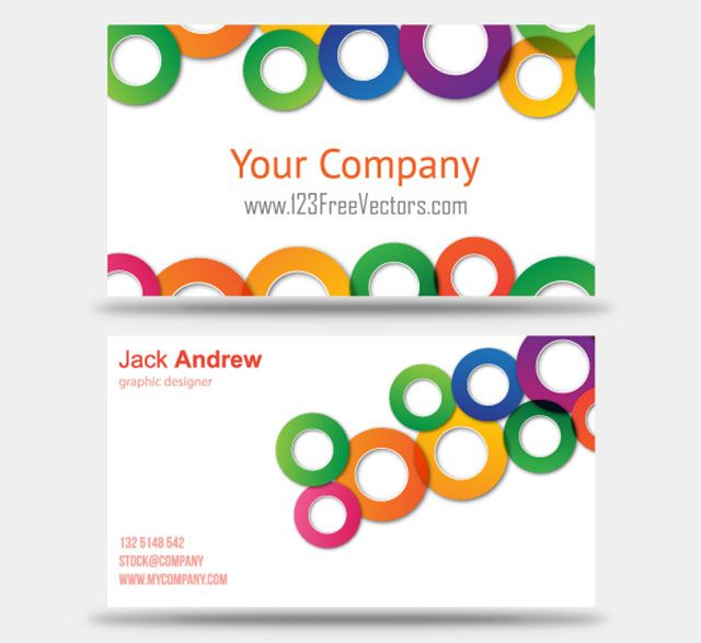 Clean Colorful Business Card Template With Stylish Circles Available For Free Download As Vector EPS