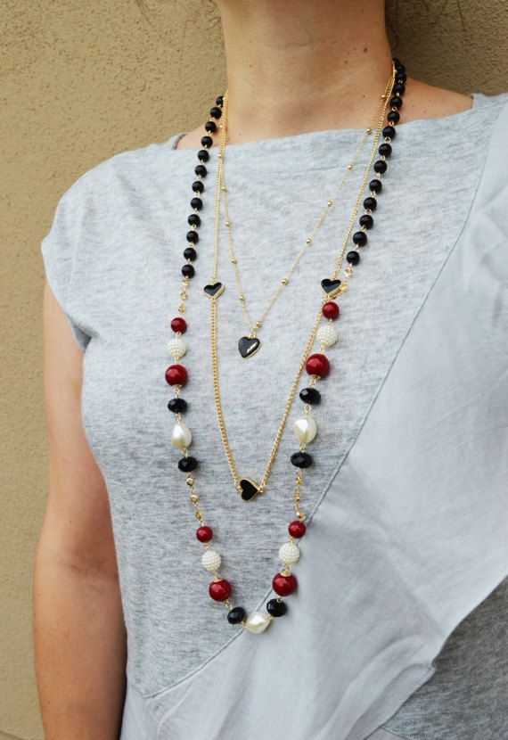CLEARANCE SALE  Layered Hearts Necklace by EllaHandmadeUnuque