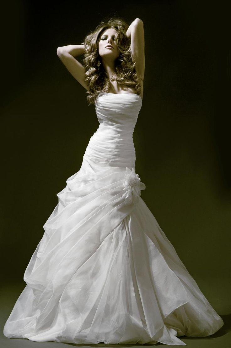Bridal Gowns: Pnina Tornai Mermaid Wedding Dress with Strapless Neckline and Dropped Waist Waistline