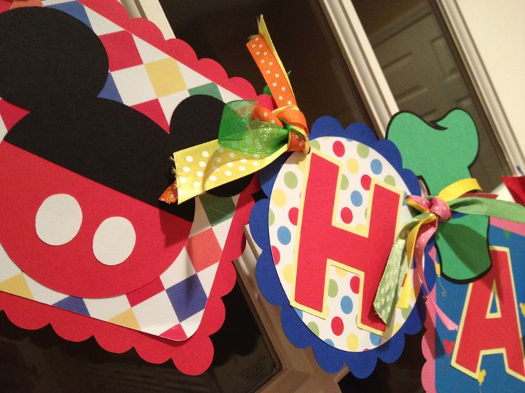Mickey Mouse Clubhouse Inspired  Happy Birthday Banner. $42.00, via Etsy.