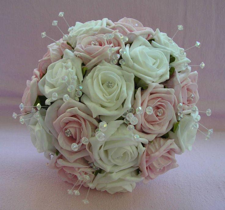 Artificial Flowers Pink White Foam Rose Wedding Bridesmaid Bouquet Posie