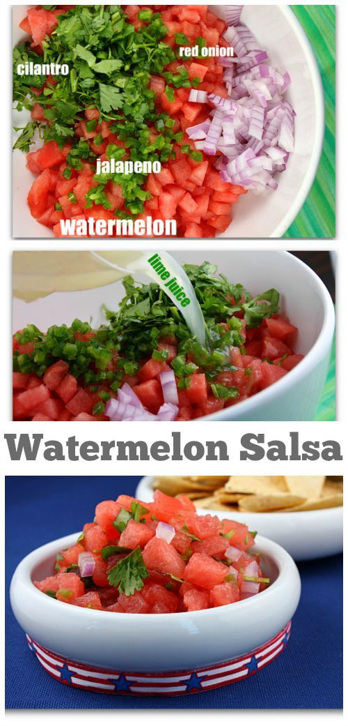 Fresh and easy Watermelon Salsa recipe : a great way to use up leftover watermelon!  Great choice for a Labor Day weekend party!